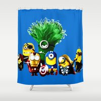 avenger Shower Curtains featuring Avenger-mini ons mashup by BURPdesigns