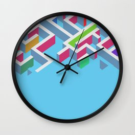 Vectors 3d colorfull maze on blue background Wall Clock