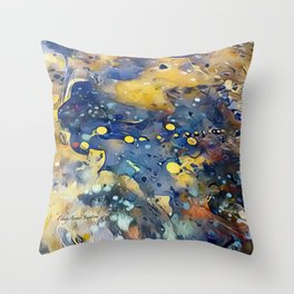 When Planets Align watercolor abstract by CheyAnne Sexton Throw Pillow