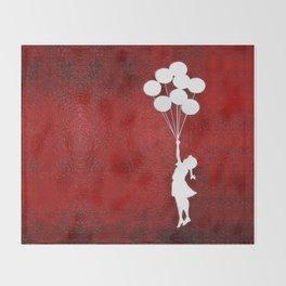 Banksy the balloons Girls silhouette Throw Blanket