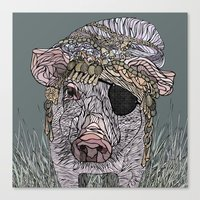 pig Canvas Prints featuring PIG by Barbara Graetzer