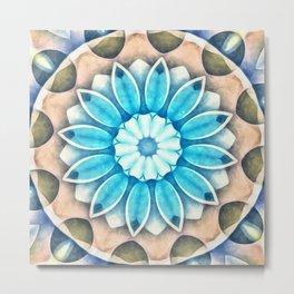 Nature's Sepia Beauty Flower Kaleidoscope Metal Print