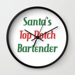 Santa's Top Notch Bartender Mixologist T-Shirt Wall Clock
