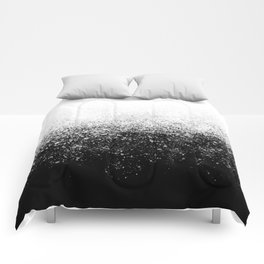 fading paint drops - black and white - spray painted color splash Comforters