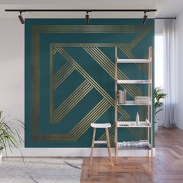 Art Deco Blurred Lines In Teal Wall Mural