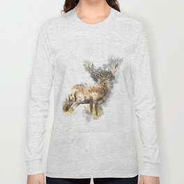 Watercolor Deer Long Sleeve T-shirt
