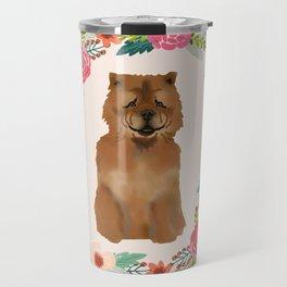 chowchow dog floral wreath dog gifts pet portraits Travel Mug