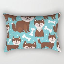 funny brown husky dog and white bones, Kawaii face with large eyes and pink cheeks blue background Rectangular Pillow
