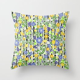 Yellow green floral pattern on a striped background. Throw Pillow