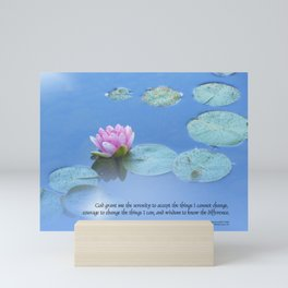 Serenity Prayer Pink Water Lily Mini Art Print