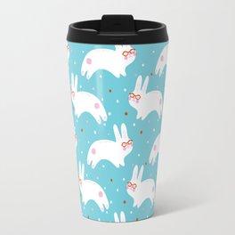 Happy Bunnies with Glasses Travel Mug