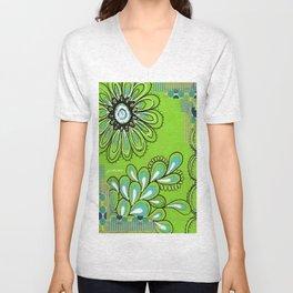 Green Flower Unisex V-Neck