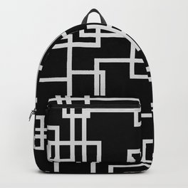 Geometric Cubic Line Pattern Black And White Backpack