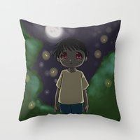nightmare Throw Pillows featuring Nightmare by Cat in the Box