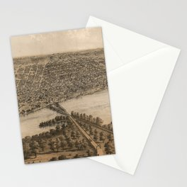 Vintage Pictorial Map of Peoria Illinois (1867) Stationery Cards