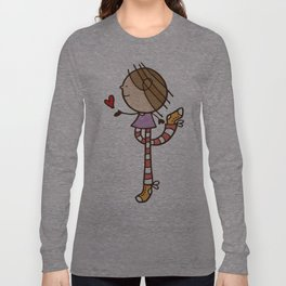 Girl with long legs and a love heart Long Sleeve T-shirt