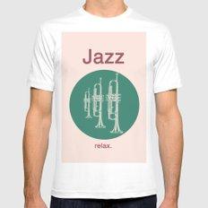 Jazz Relax MEDIUM White Mens Fitted Tee