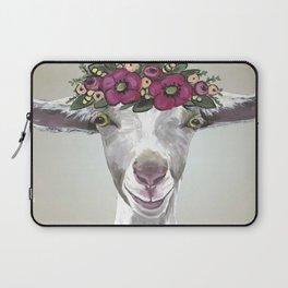 Flower Crown Goat Tan, Cute Goat Painting Laptop Sleeve