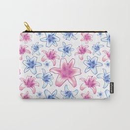 Pink and Blue Lily Pattern - Lovely Florals Carry-All Pouch
