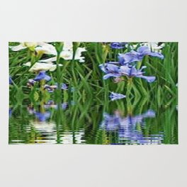 BLUE & WHITE IRIS WATER REFLECTION ART Rug