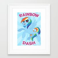 mlp Framed Art Prints featuring MLP FiM: Rainbow Dash by Yiji