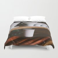 broadway Duvet Covers featuring Coffee at Broadway Market by Diana Eastman