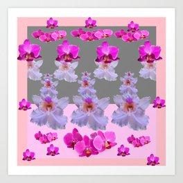 PURPLE  FUCHSIA ORCHIDS  SPRINKLES ON  GREY-PINK ART Art Print