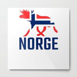 Moose Norway Flag Metal Print