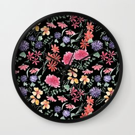 Bright flowers on a black background. Wall Clock