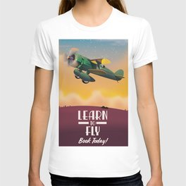 Learn To Fly, vintage flight travel poster T-shirt
