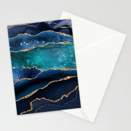 Blue Night Galaxy Marble  Stationery Cards