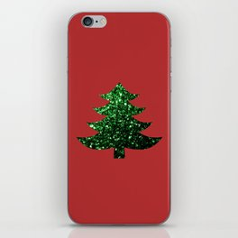 Sparkly Christmas tree green sparkles on red iPhone Skin