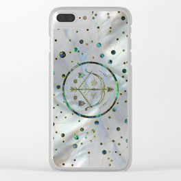 Sagittarius Zodiac Gold Abalone on Constellation Clear iPhone Case