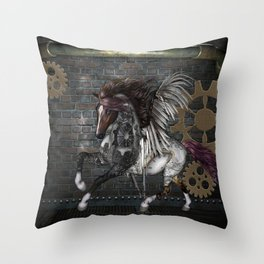 Steampunk, awesome steampunk horse with wings Throw Pillow