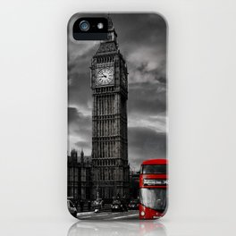 London - Big Ben with Red Bus bw red iPhone Case