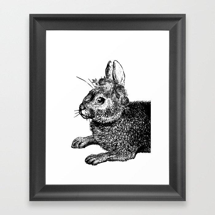 The Rabbit and Roses   Vintage Rabbit with Flower Crown   Rabbit Portrait   Bunny   Black and White Gerahmter Kunstdruck