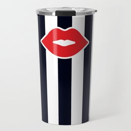 Red Lips with Stripes Travel Mug