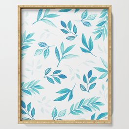 Tropical Turquoise Leaves Serving Tray