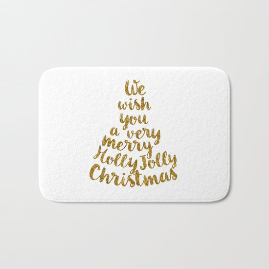 Holly Jolly Christmas - Gold glitter Typography Bath Mat