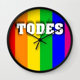Flag with LGBT colors with inclusive language Wall Clock