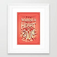 Heart went boom Framed Art Print