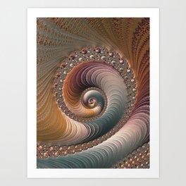 Fantastic Fractal Wave Amber Teal Abstract Art Art Print