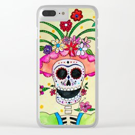 DIA DE LOS MUERTOS FRIDA CATRINA Clear iPhone Case