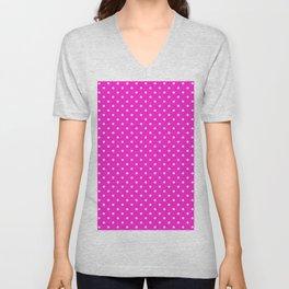 Dots (White/Hot Magenta) Unisex V-Neck