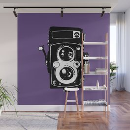Big Vintage Camera Love - Black on Purple Background Wall Mural