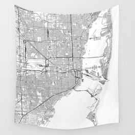 Miami White Map Wall Tapestry