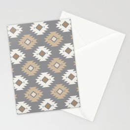 Geometric Aztec - Neutral Brown and Gray Stationery Cards