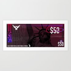 USD Currency // $50 Art Print