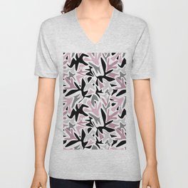 abstract, daub pink, gray and pink, geometric Unisex V-Neck