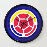 colombia Wall Clocks featuring Seleccion Colombia by DAN LOZ